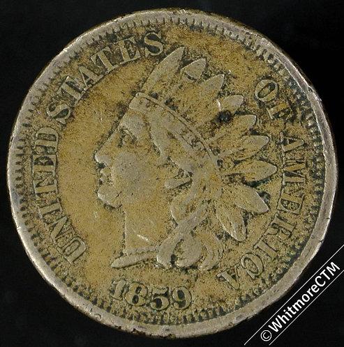 1859 USA 1 Cents - edge knock