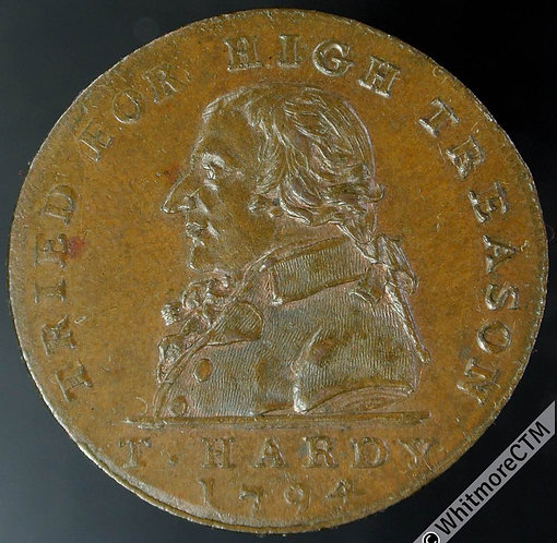 18th Century Halfpenny Middlesex 1024 1794 T Hardy / Aquitted by his jury etc.