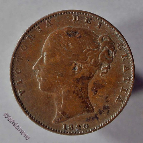 1840 British Copper Farthing coin Victoria Young Head