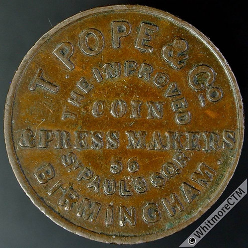 Unofficial Farthing Birmingham 825 T.Pope & Co.Coin & Press Makers CP3 Very rare