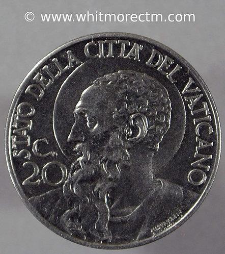 1941 Vatican City Y24a 20 Centesimi coin obv