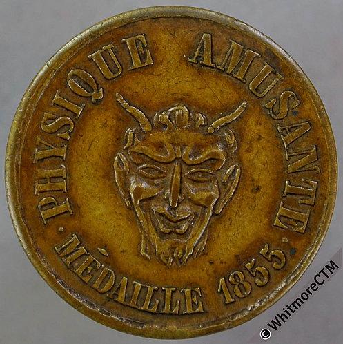 France Paris Token 21mm Physique Amusante - Devil's face. Brass