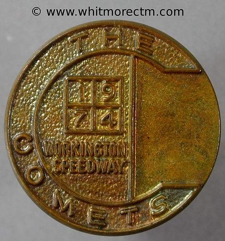Workington 1974 Speedway - the Comets Medal 25mm. Uniface gilt brass