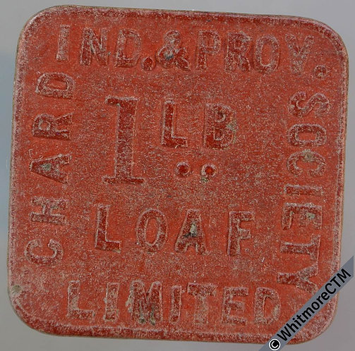 Chard Indus & Prov. Co-Operative Society Token 26mm 1lb loaf - Square red fibre.