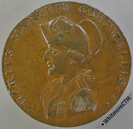18th Century Penny Bury St.Edmunds 4 Marquis Cornwallis / Fame.  P.Deck's edge