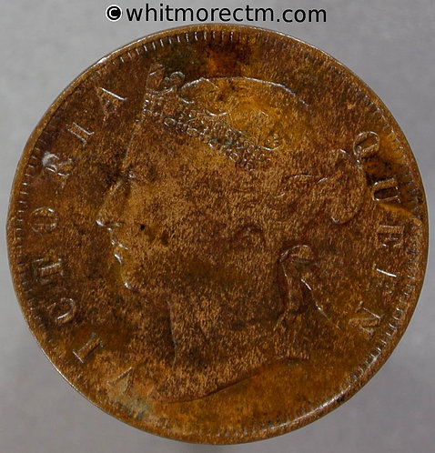 1884 Straits Settlements ½ Cent coin obv - Queen Victoria British Crown Colony