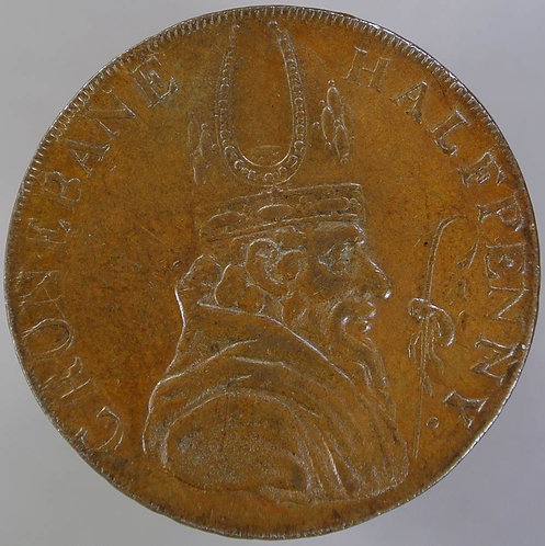 18th Century Halfpenny Cronebane 68 Bishops Head London Bristol & Lancaster edge