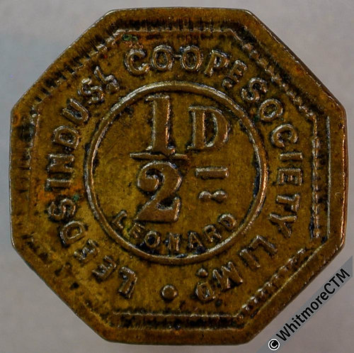 Co-Operative Society Token Leeds Industrial 19mm ½ d. Octagonal brass