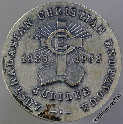 Australia Christian Endeavour Jubilee 1938 Medal 32mm - Silvered Bronze