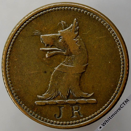 Unofficial Farthing Stuppington 4920 Hounds head Countermarked J R.  Very Rare
