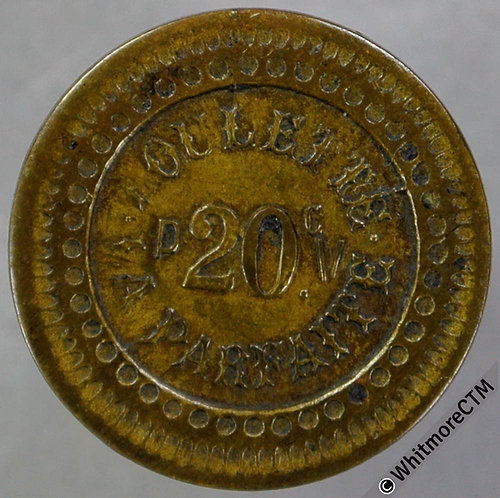 France 20 centimes P.V. Roulette La Parfaite Token 18mm Brass