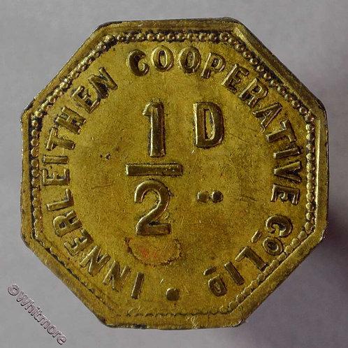 Co-Operative Society token Innerleithen ( Scotland ) - 24mm ½D  Octagonal brass