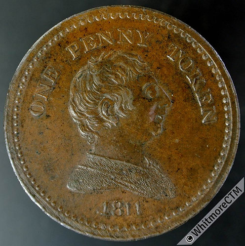 19th Century Penny Token Bristol 419 1811 Bust of George III Arms of City. Rare