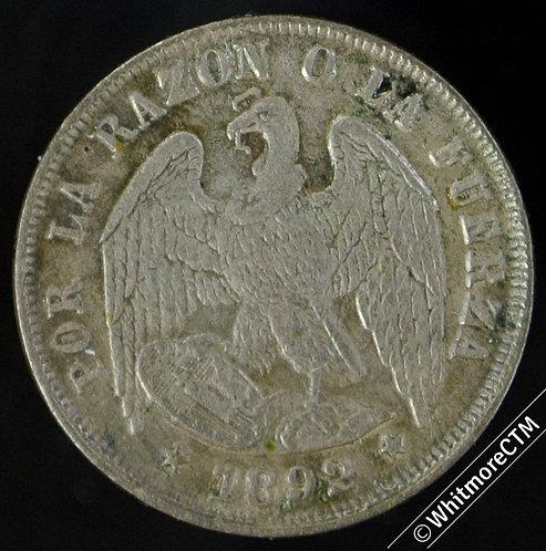 1892 Chile 1/2 Decimo - Silver Y14b