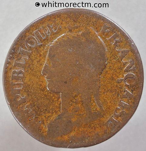 1799-1800 France 5 Centimes coin L'an 8 A - C135
