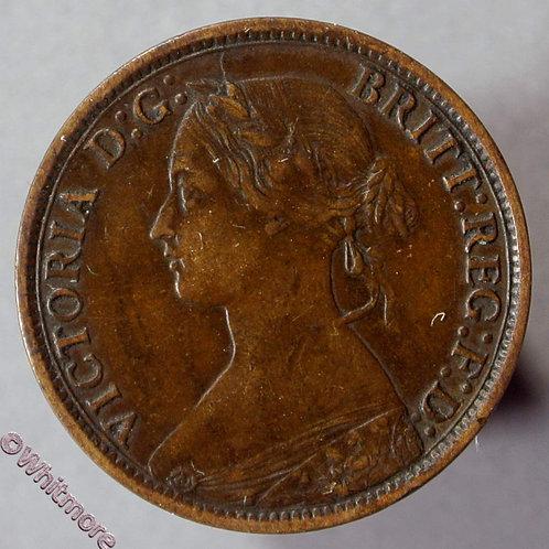 1867 British Bronze Farthing Victoria Bun Head