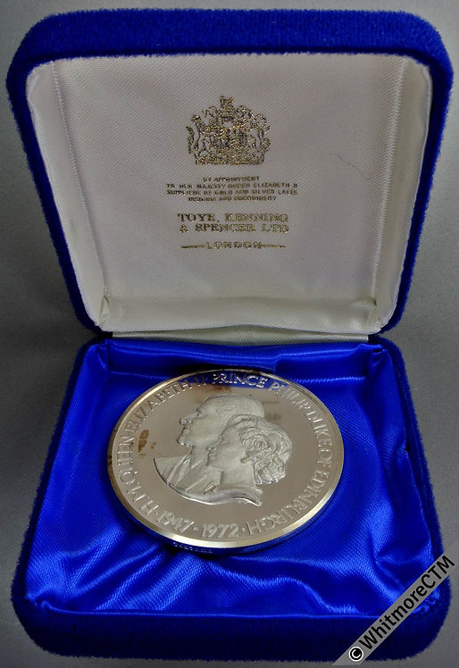1972 Silver Wedding of Queen Elizabeth Medal 51mm by EK. for Toye etc. Silver