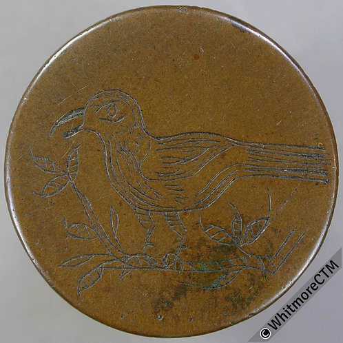 Engraved Coin Token 28mm Singing bird on branch engraved on copper blank