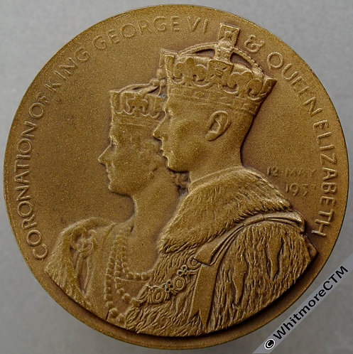 1937 Coronation George VI Medal 38mm B4350 Bronze cased with card