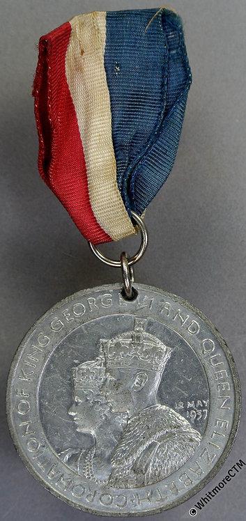 1937 Coronation George VI Medal 38mm WE7510 White metal. Pierced rings & ribbon