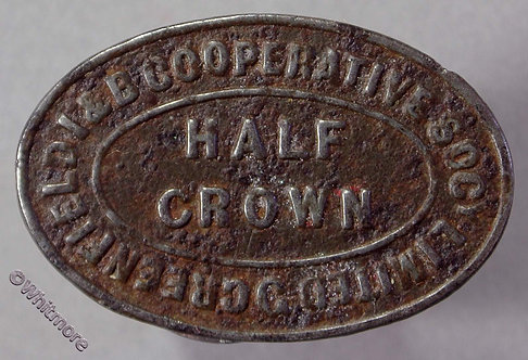 Co-Operative Society token Greenfield I & B Lancashire 29x19mm Half Crown. Oval