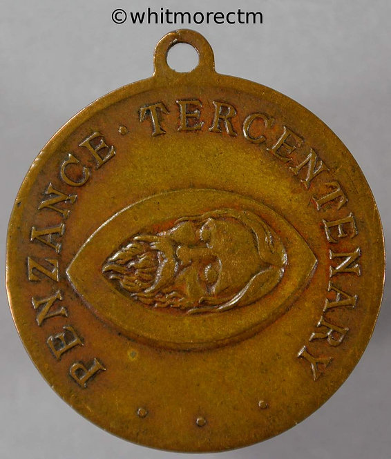 Penzance 1914 Tercentenary Medal 32mm Head of John the Baptist. Bronze