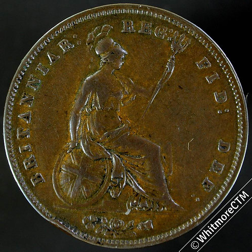 1854 Ornate Trident Victoria Young Head Copper Penny