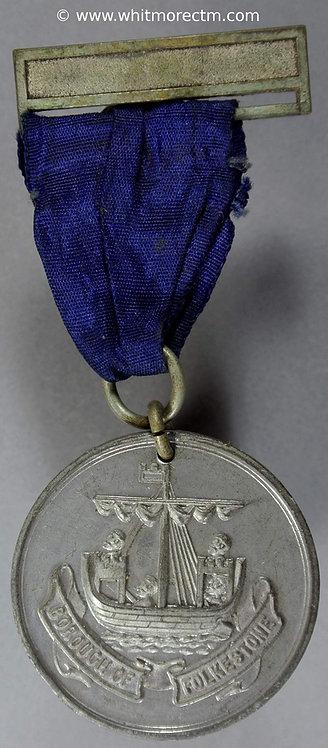 Folkestone School Attendance Medal 32mm White Metal D705