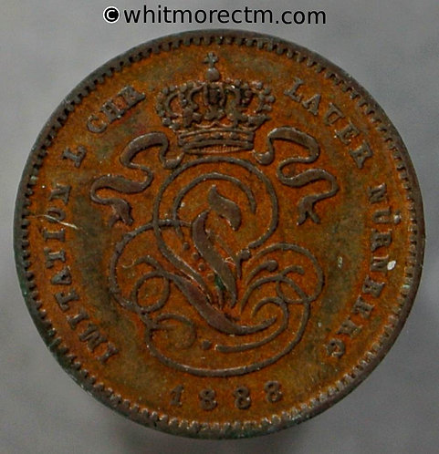 Toy Coin Belgium 1888 1 Centime obv as Y1. By Lauer - Copper - Rodgers1530