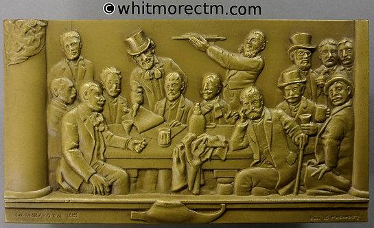 1981 Portugal Lisbon Centenary the Lion group of Artists plaque 112x63mm Bronze