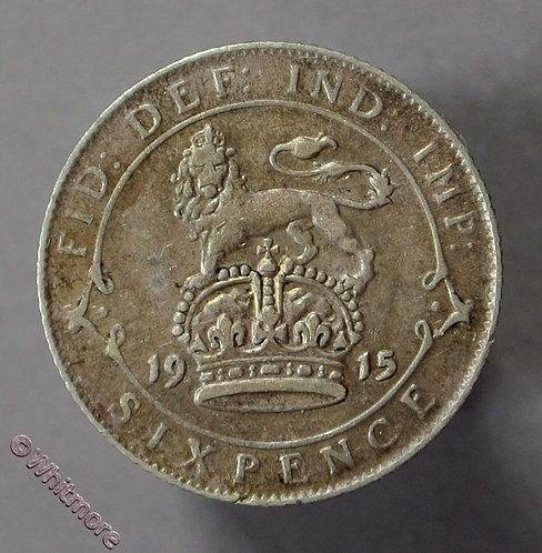 1915 British Sixpence George V