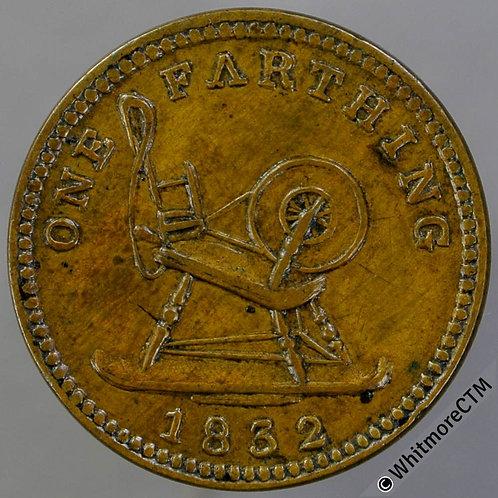 Unofficial Farthing Limerick 6530 1832 John Egan - spinning wheel. Rare