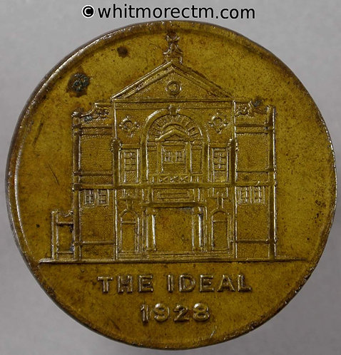 Ticket Pass Token Lambeth 32mm 1928 The Ideal cinema - penny at the pay box