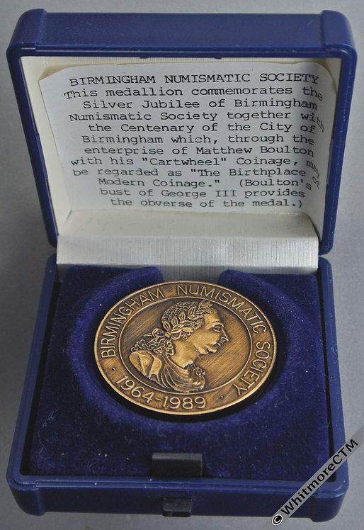 Birmingham 1989 Centenary & 25th Anniversaryof Numismatic Society Medal 32mm