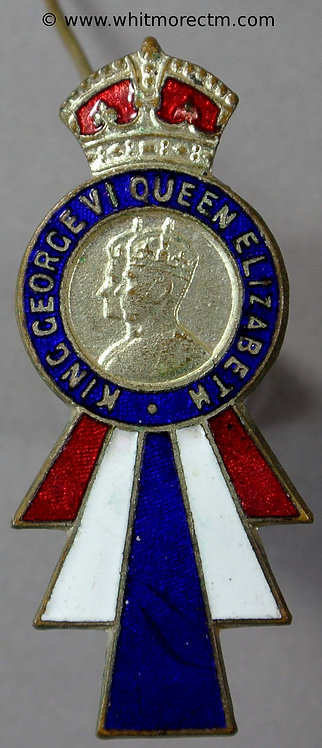 1937 Church Lancashire Coronation badge obv 18x42mm WE7751