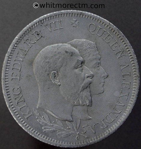 1902 Edward VII Coronation Medal obv 38mm B3778 By H.G.(Greuber) - Aluminium