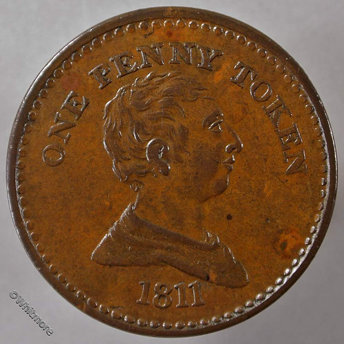 19th Century Penny Bristol 415 1811 Bust of George III / Arms of City - obv