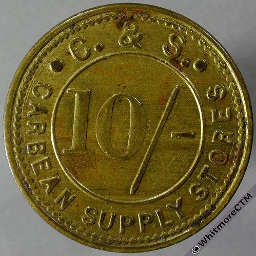 Bonus Token Carbean (St Austell) 26mm Supply Stores 10/- Uniface. Brass obv