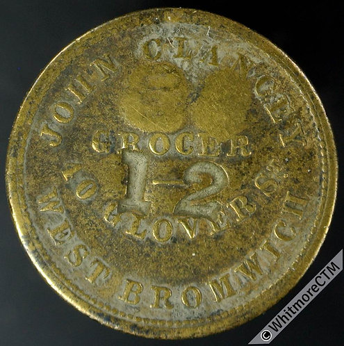 Value Stated Token West Bromwich John Clancey Grocer 22mm By J.Moore. Cmk 12