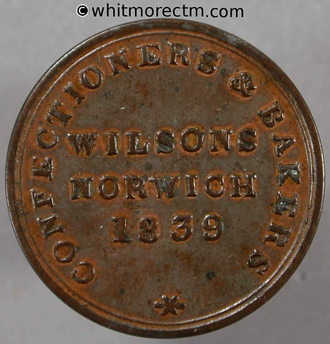 Unofficial Farthing Norwich 4050 1839 Wilsons Confectioners & bakers