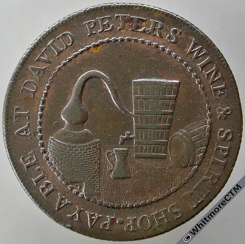 18th Century Halfpenny Perth 10 1797 David Peters wine & spirit shop
