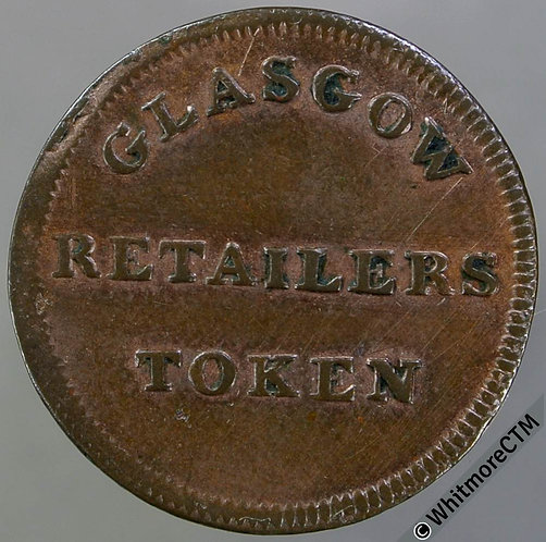 Unofficial Farthing Glasgow 7370 1828 Retailers token one Farthing