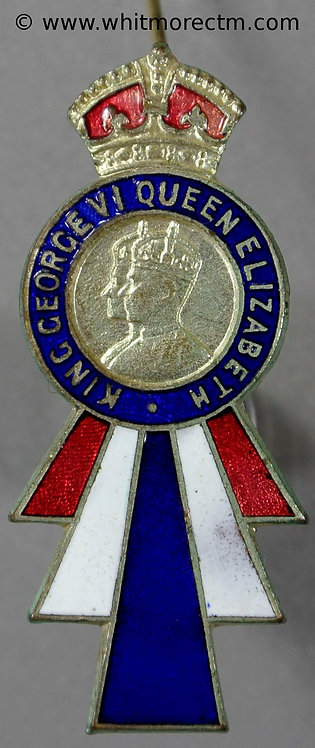 Rawtenstall Lancs 1937 Coronation Brooch 43x18mm WE7750 Brass part enamelled obv