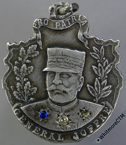 1915 France birthday of General Joffre Medal 29x27mm Ornate silver By H.Dupre