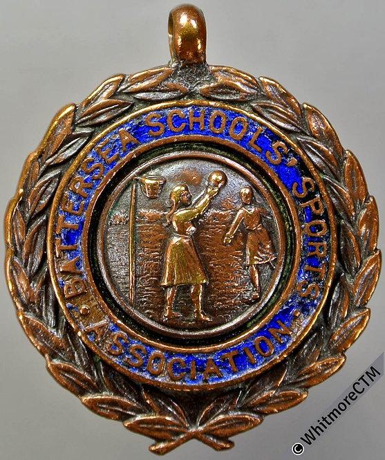 Battersea 1928 Schools Sports Association Netball Medal 28mm Enamelled Bronze