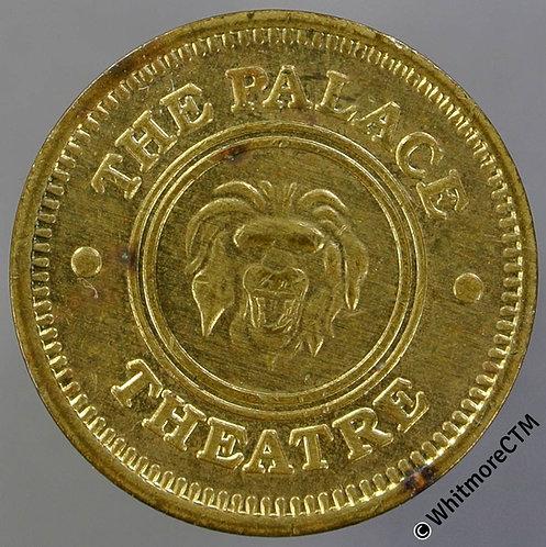 Ticket Pass Token 22mm The Palace Theatre. Lion's Head. Gilt bronze