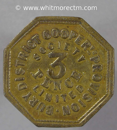 """Co-Operative Society Token Bury """"District Provision"""" 3 Pence 23mm"""