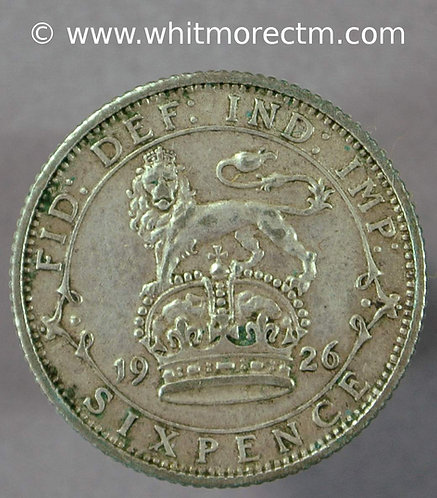 1926 British Sixpence George V  D1882 Modified effigy