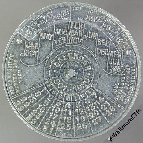 1901-50 U.S.A Perpetual Calendar Medal 45mm Woodrow Wilson Aluminium
