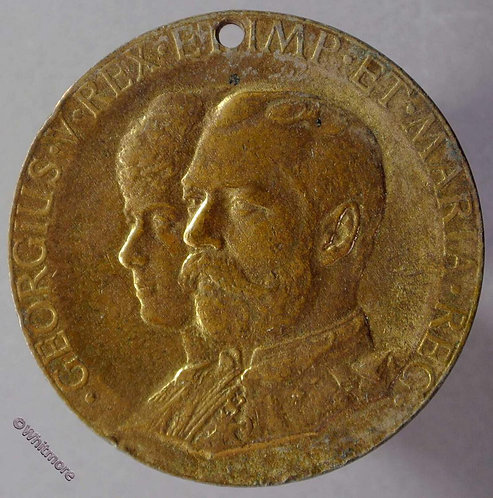 1911 Coronation Medal obv 35mm George V (as B4055) Gilt bronze Pierced